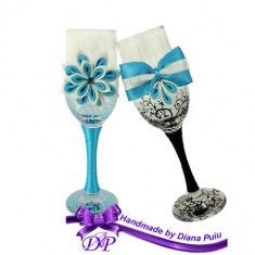 Pahare nunta miri si nasi, Handmade by Diana Puiu, PNFJ 2 blue-negru