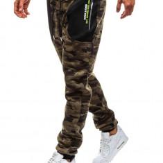 Pantaloni sportivi joggers pentru bărbat camuflaj-verde Bolf TC876
