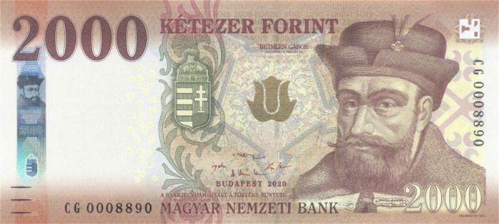 UNGARIA █ bancnota █ 2000 Forint █ 2020 █ P-204c █ UNC █ necirculata