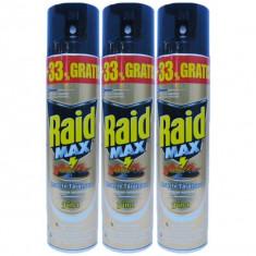 3 x Raid MAX, Spray pentru insecte taratoare, gandaci, 3 x 400ml