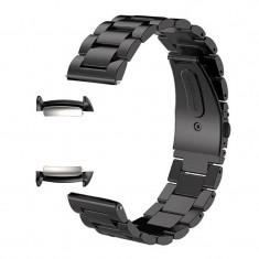 Curea metalica, adaptoare compatibile Samsung Gear Fit 2, Negru