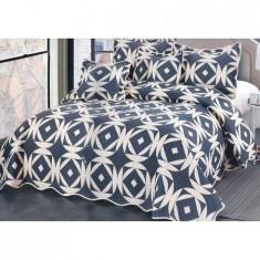 Cuvertură pat dublă, bumbac de finet, 5 piese, model Geometry