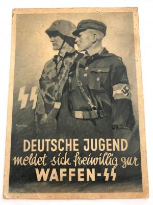 PROPAGANDA CARTE POSTALA WW II Deutsche Jugend meldet sich freiwillig zur Waffen foto