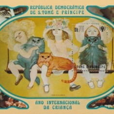 Sao Tome 1981 - Copii si pisici, colita neuzata