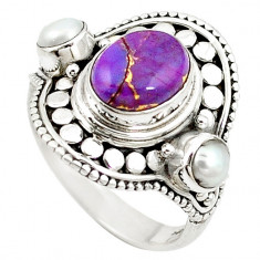 Inel bijuterie din argint 925 cu turcoaz violet si perlute