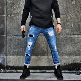 Blugi pentru barbati albastri slim fit conici casual skinny rupturi decorative 0065