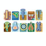 Joc de societate tactil Ustensile Dodo, 10 carduri cu imagini colorate, 3 ani+