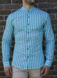 Camasa turquaz alb - camasa slim fit camasa barbat LICHIDARE STOC cod 193, L, S, XL, XXL, Maneca lunga