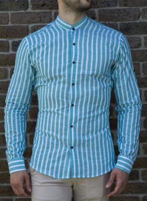 Camasa turquaz alb - camasa slim fit camasa barbat camasa ocazie cod 193 foto