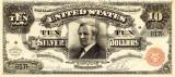 10 dolari 1886 Reproducere Bancnota USD , Dimensiune reala 1:1