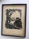 Tablou vechi filigran, decupaj siluete, carton negru, rama de lemn, 33x25 cm