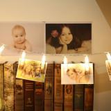 Ghirlanda luminoasa in forma de clesti de rufe, pentru fotografii, 20 cleme, Gonga