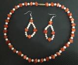 set colier si cercei din coral si perle naturale