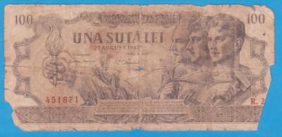 (7) BANCNOTA ROMANIA - 100 LEI 1947 (27 AUGUST 1947) foto