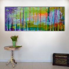 Tablou abstract pictat manual, pictura abstracta - Moods 87, 150x60x2 cm, Acrilic