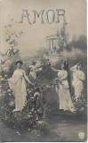 Carte poștală romaneasca veche Amor