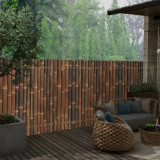 Panou gard de grădină din bambus, maro închis, 120 x 125 cm