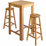 VidaXL Set masă și scaune de bar, 3 piese, lemn masiv de acacia