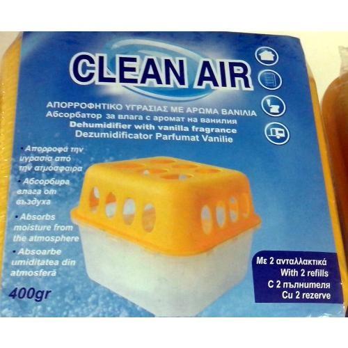 Dezumidificator CLEAN AIR absorbant de umiditate + 2 seturi granule reancarcabile cu parfum de vanilie