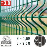 Cumpara ieftin PANOU GARD BORDURAT ZINCAT VERDE, 1500X2500 MM, DIAMETRU 3.8 MM