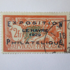 Cumpara ieftin Rar! Timbru  francez cu supratipar:Expozitia filatelica Le Havre 1929