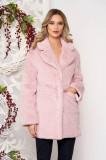 Blana SunShine roz prafuit din blana ecologica cu maneci lungi cu buzunare si inchidere cu capse