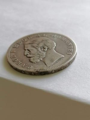 Moneda Romania 5 LEI 1881 5 stele 5 raze .argint foto