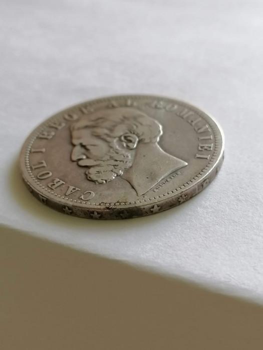 Moneda Romania 5 LEI 1881 5 stele 5 raze .argint
