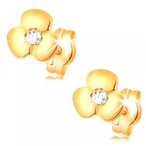 Cercei din aur 585 - diamant strălucitor transparent într-o floare lucioasă, șuruburi