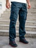 Pantaloni plus size bleumarin cargo cu curea Bolf CT8901