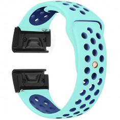 Curea ceas Smartwatch Garmin Fenix 5, 22 mm iUni Silicon Sport Turquoise-Blue