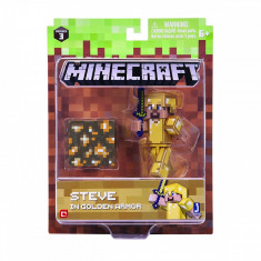 Figurina Minecraft Steve in Gold Armor Action Figure Seria 3