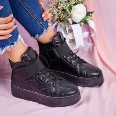 Sneakers dama cu platforma negri Adolfina -rl