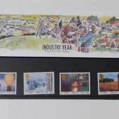 Timbre Anglia 1986 -Anul Industriei In Folie De Prezentare MNH +Carton Filatelic