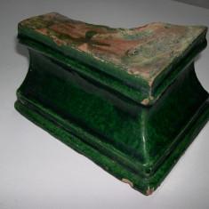 Cahla  colt smaltuita  sec. XIX.  Transilvania  verde,  (cahle)