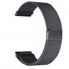 Curea metalica compatibila Moto 360 46mm Generatia 2, Milanese Loop, telescoape Quick Release, 22mm, Negru