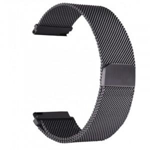Curea metalica compatibila Smartwatch 20mm, telescoape Quick Release, Milanese Loop, Negru
