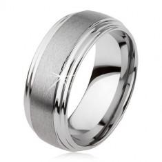 Inel tungsten neted, uşor bombat, suprafaţă mată, culoare argintie - Marime inel: 54