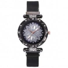 Ceas dama GENEVA CS1182, model Starry Sky, bratara magnetica, elegant, negru