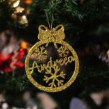 Glob Ornament Brad cu Fulgi de Zapada - Personalizat cu Nume