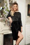 Rochie StarShinerS neagra scurta de ocazie cu un croi drept din catifea si paiete
