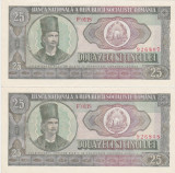 ROMANIA 2 bancnote x 25 lei 1966  AUNC SERIE CONSECUTIVA