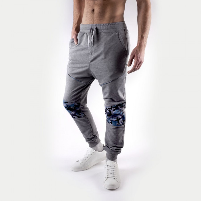 Pantaloni pentru barbati, slim fit, gri-deschis, cu siret, banda jos - mercenary