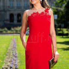 Rochie eleganta de seara rosie cu flori 3D la bust