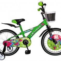 Bicicleta copii 18 Velors V1801B cadru otel verde negru si roti ajutatoare