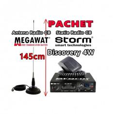 Pachet Statie Radio CB STORM Discovery 4W + Antena Radio CB Megawat ML145 cu Magnet Megawat 145PL