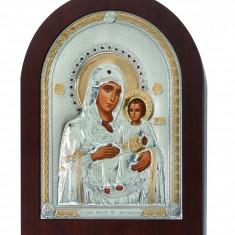 Maica Domnului de la Ierusalim pe Foita Argint 925 Auriu 12x15cm Cod Produs 774
