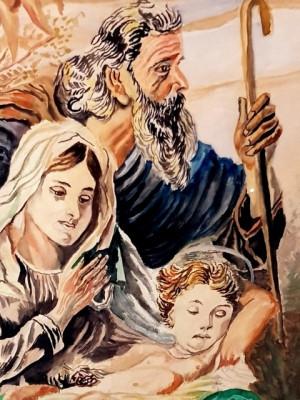 Tablou - religios - icoana - Isus Maria Iosif - acuarela-rama 1957 foto