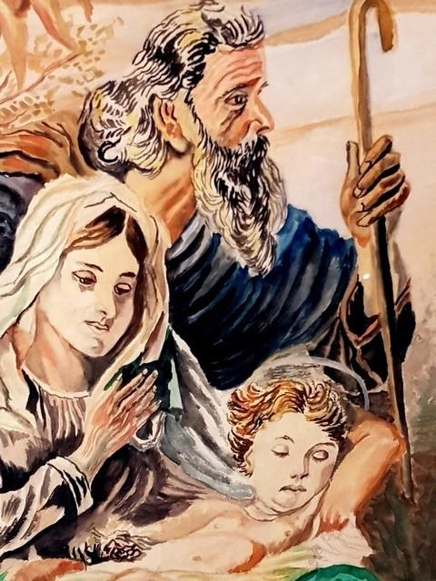 Tablou - religios - icoana - Isus Maria Iosif - acuarela-rama 1957