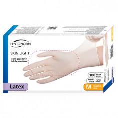 Manusi latex Skin light marimea M, albe, 100 bucati/cutie, usor pudrate